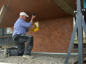 Alf Cackett, Marine Surveyor in Kent, at work